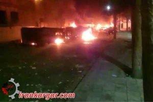 تظاهرات و به آتش کشیدن اتوبوس های بسیج