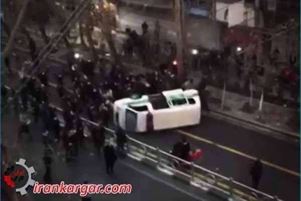 به آتش کشیدن در تظاهرات سراسری دیماه تهران