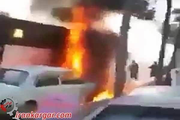 آتشسوزی اتوبوس در مشهد