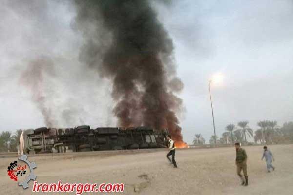 واژگونی و آتش گرفتن کامیون