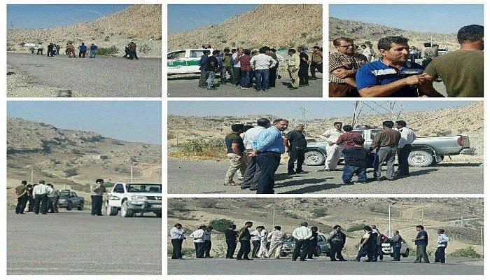 تجمع اعتراضی کارگران سد چمشیر گچساران-min