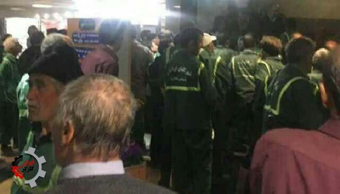 تجمع اعتراضی کارگران فضای سبز شهرداری الوند
