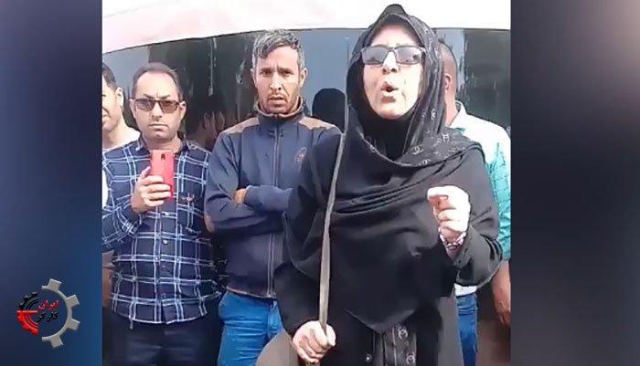 فیلم سخنان شجاعانه یک خانم معلم در تجمع کارگران فولاد اهواز