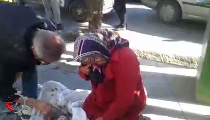 لگدمال کردن وحشیانه بساط پیرزن دستفروش