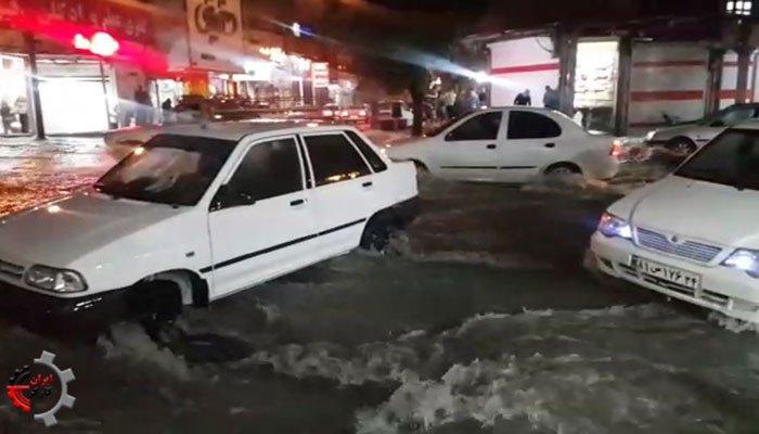 سیل در شوش دانیال و آب گرفتگی شدید خیابانها