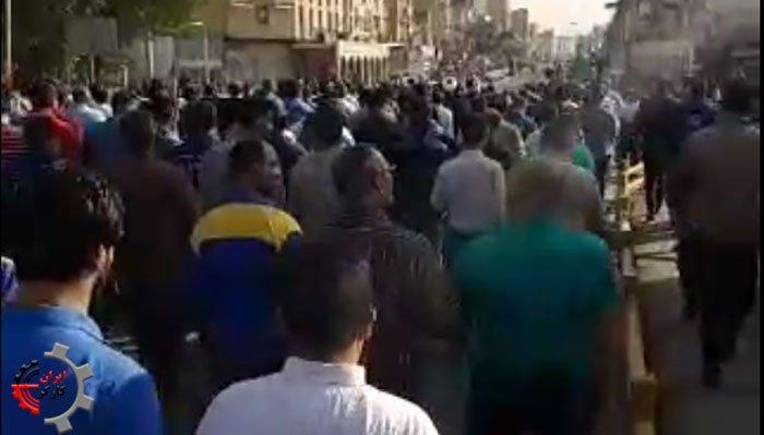 شعار تظاهرات کارگران فولاد اهواز