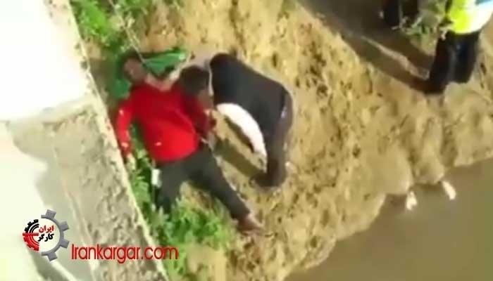 صحنه دردناک خودکشی یک جوان با حلق آویز کردن خود از یک پل