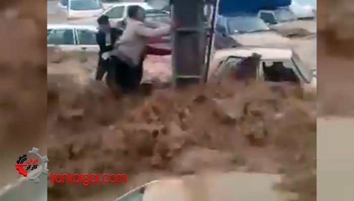 فیلم صحنه دردناک بردن خودروها و افراد توسط سیل در خیابانهای شیراز