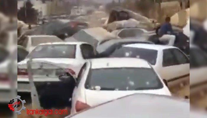 لحظه وحشت آور شروع سیل در شیراز و در هم پیچیدن خودروها با سرنشینان آنها