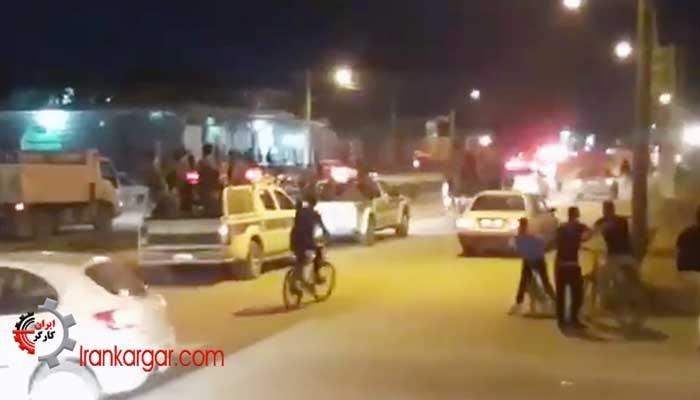 مانور ستون نیروهای انتظامی در اهواز برای ایجاد رعب و جلوگیری از تظاهرات و اعتراضات