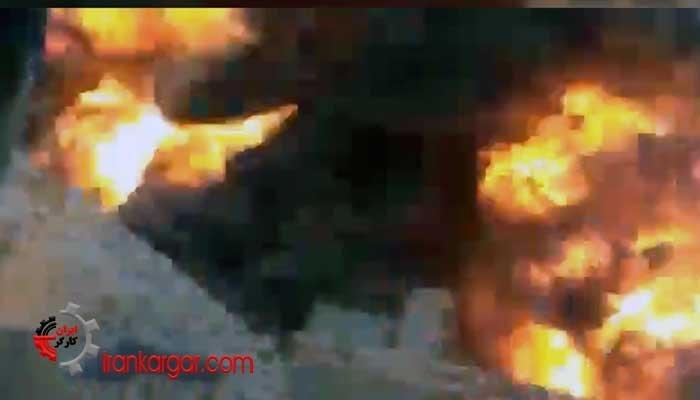 لحظه انفجار عظیم و آتش گرفتن خط لوله نفت اهواز- امیدیه در نزدیکی روستای صالح آباد