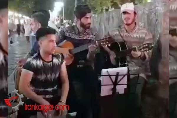 اجرای گروهی ترانه خیابانی در رشت
