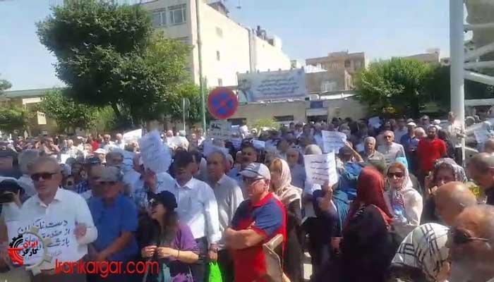 تجمع اعتراضی بازنشستگان جلوی مجلس ۲۸خرداد