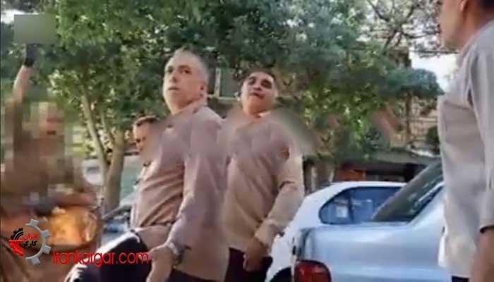 فیلم مزاحمت انزجارآور ماموران شهرداری کرمانشاه برای پیرمرد زباله گرد گرسنه و مخالفت مردم