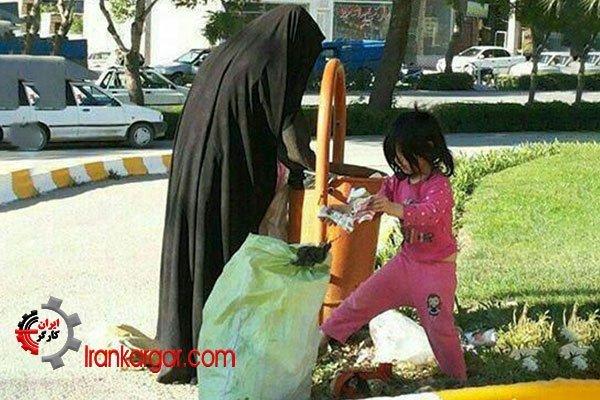 خانمهای زبالهگردی که کودکان خردسالشان را به همراه دارند