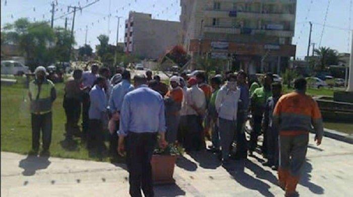 تجمع اعتراضی کارگران شهرداری کاشان
