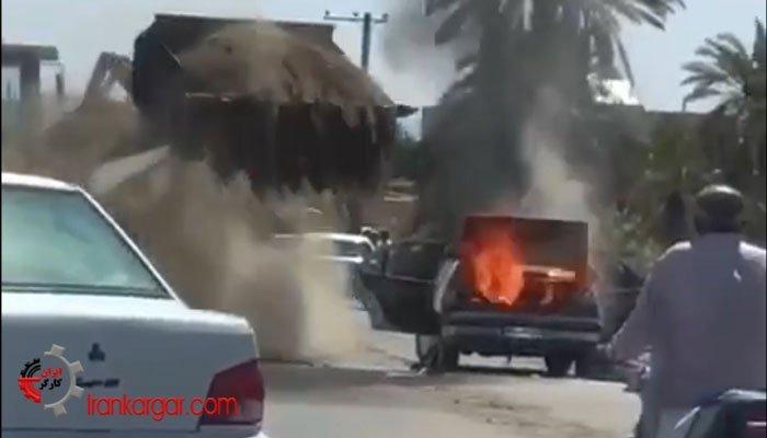 نحوه خاموش کردن خودرویی که آتش گرفته توسط شهرداری