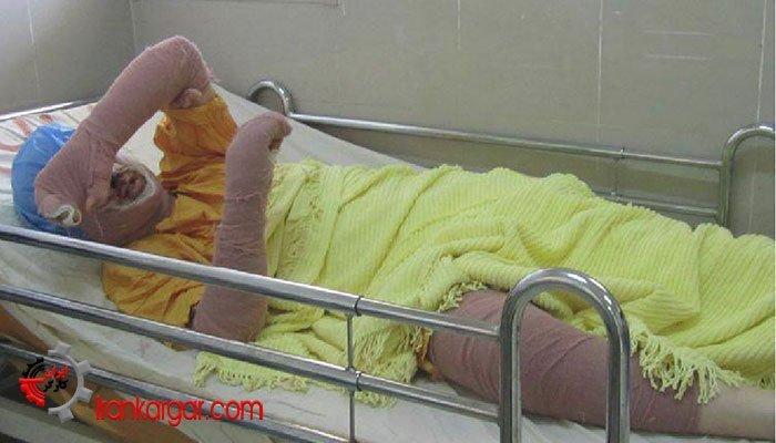 سحر خدایاری بر روی تخت بیمارستان