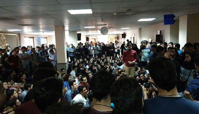 تجمع اعتراضی دانشجویان دانشگاه امیر کبیر